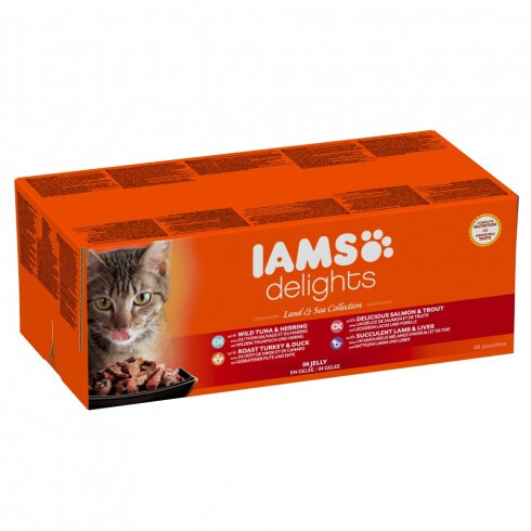 Iams Cat Delights Land&sea Multipack Aszpikban 48x85gr