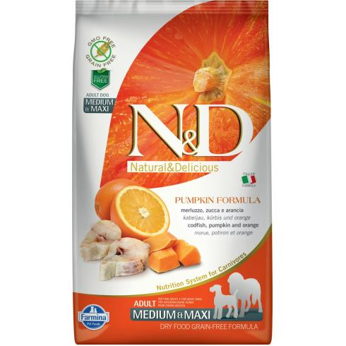 N&D Dog Grain Free tőkehal&narancs sütőtökkel adult medium/maxi 2,5kg